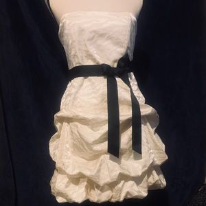 Stunning Strapless cream and black mini dress